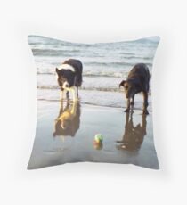 Indy and Shela at the beach Throw Pillow
