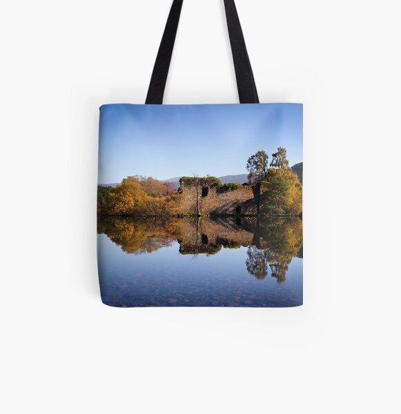 Little Island at Loch an Eilein All Over Print Tote Bag