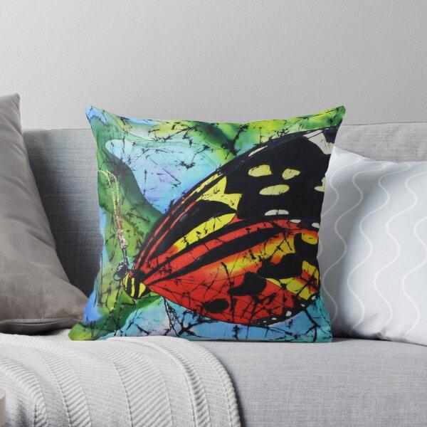 Butterfly on silk Throw Pillow