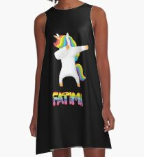 Fatima Unicorn Rainbow Heart Text - Special Personalised Gift For Fatima A-Line Dress