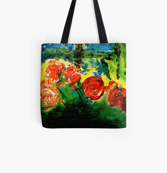 Flowers All Over Print Tote Bag