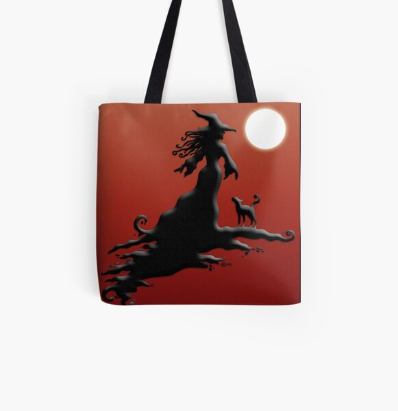 Witch's Silhouette - Prints and Cards All Over Print Tote Bag