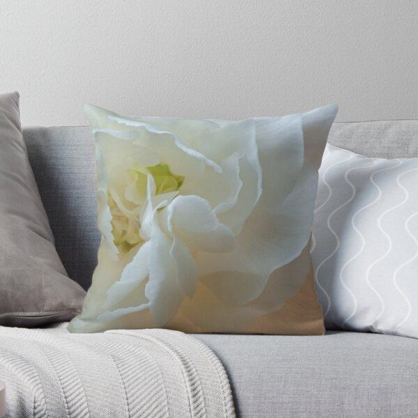 White Carnation Heart macro Throw Pillow