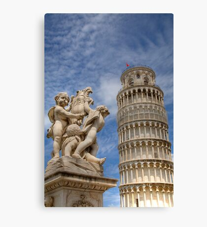 Leaning tower and Duomo in Campo di Miracoli field of Miracles, Pisa, Tuscany, Italy Canvas Print