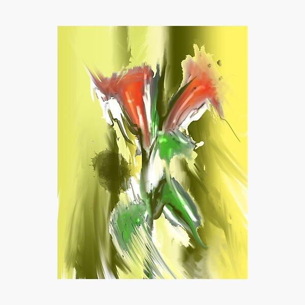 Abstrakte Lilien rot Fotodruck