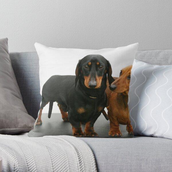 Miniature smooth dachshunds Throw Pillow
