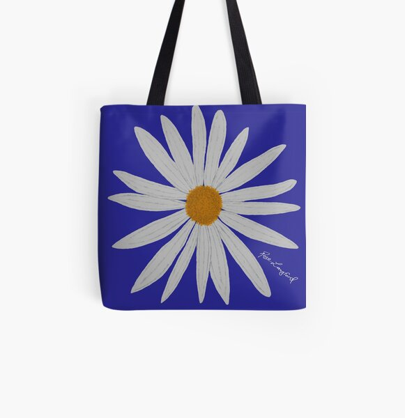 WHITE DAISY BLUE All Over Print Tote Bag