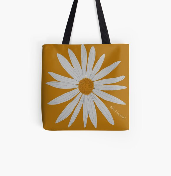 WHITE DAISY GOLD All Over Print Tote Bag