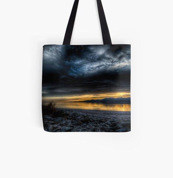 Sunset on the Salton Sea All Over Print Tote Bag