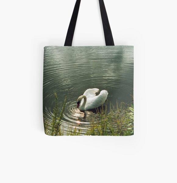 Swan In Sun's Reflection All Over Print Tote Bag