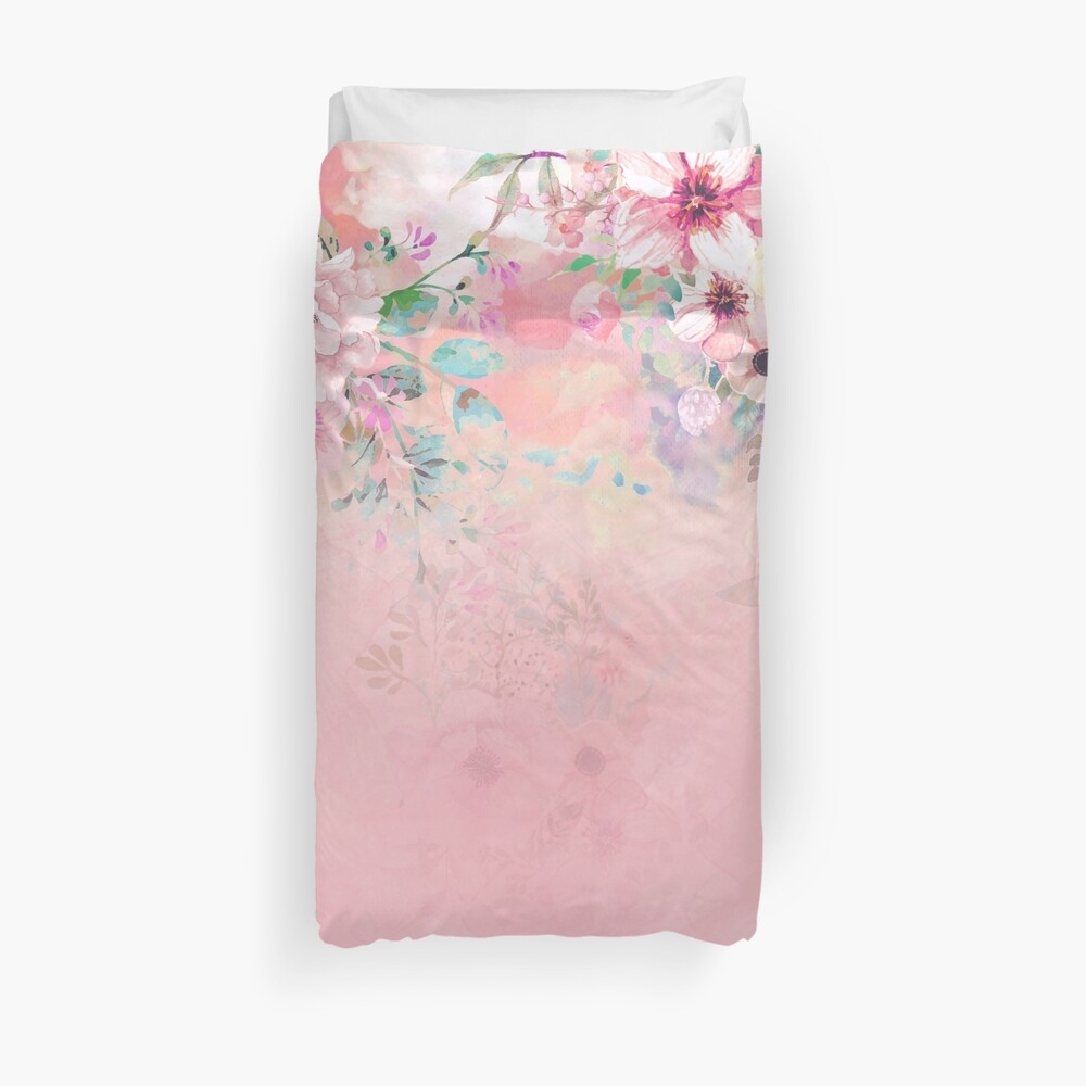Botanical Fragrances in Blush Cloud-Ιmmersed Duvet Cover