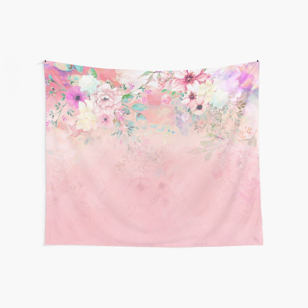 Botanical Fragrances in Blush Cloud-Ιmmersed Wall Tapestry