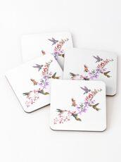 Hummingbirds Feeding  Coasters
