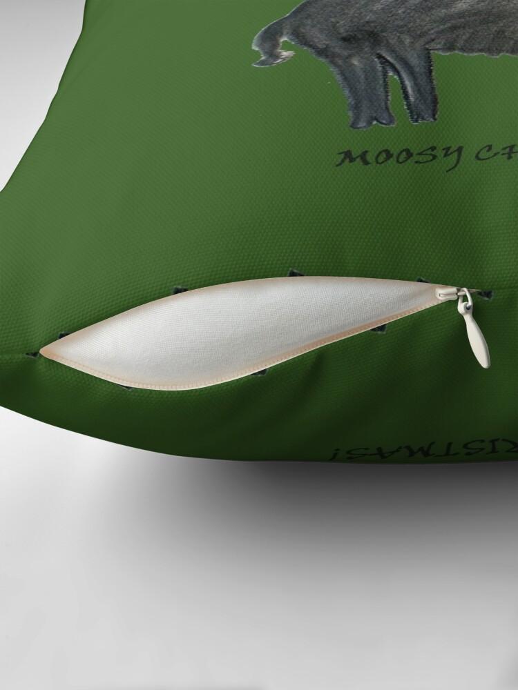 Alternate view of Moosy Christmas Throw Pillow