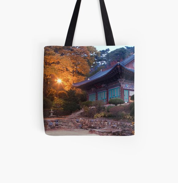 Temple At Dawn All Over Print Tote Bag
