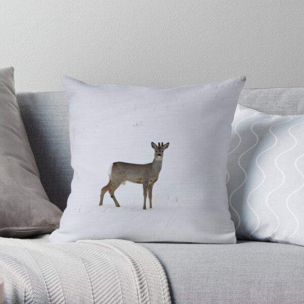 Roe buck in winter 3 Throw Pillow