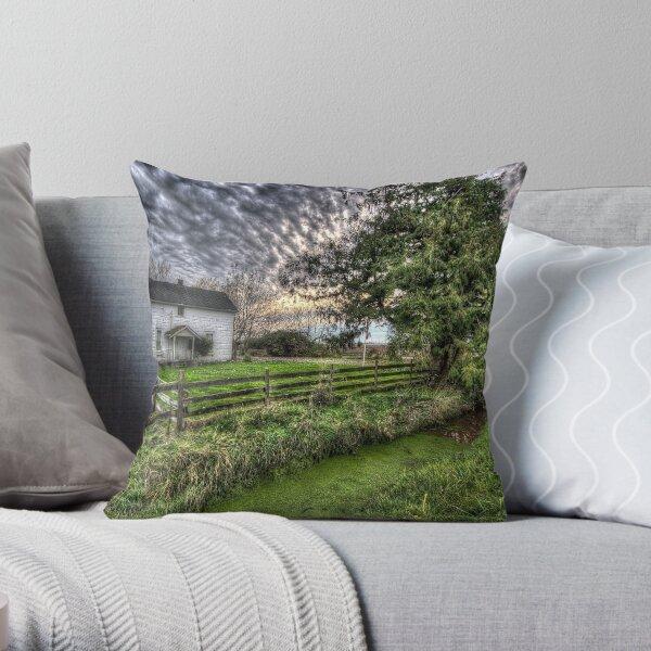 White Farm House Throw Pillow