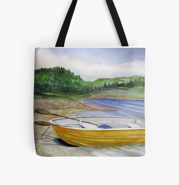 Yellow Row boat at Neys Provincial park - Ontario All Over Print Tote Bag