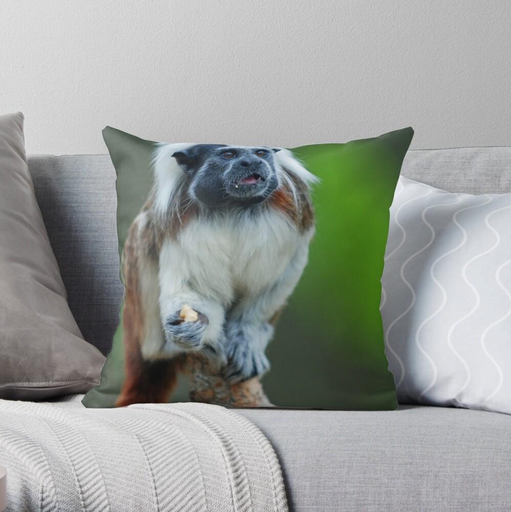 Cotton Top Tamarin Throw Pillow