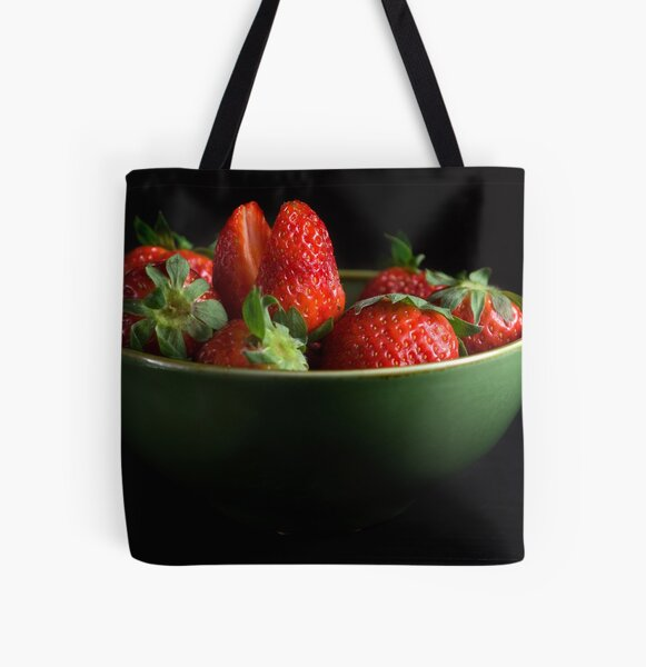 Strawberries Peering From Bowl All Over Print Tote Bag