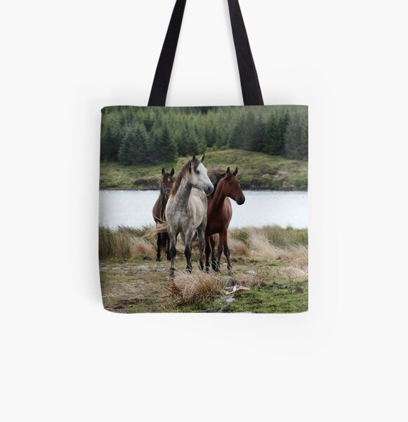 Connemara Ponies in the wild in Connemara, Ireland All Over Print Tote Bag