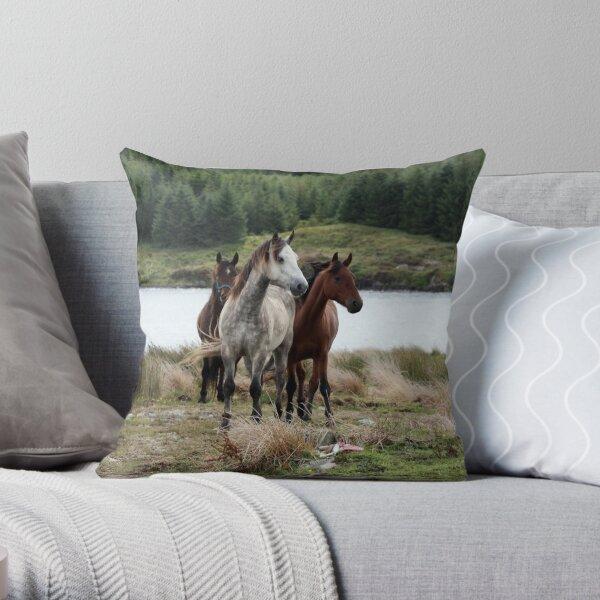 Connemara Ponies in the wild in Connemara, Ireland Throw Pillow