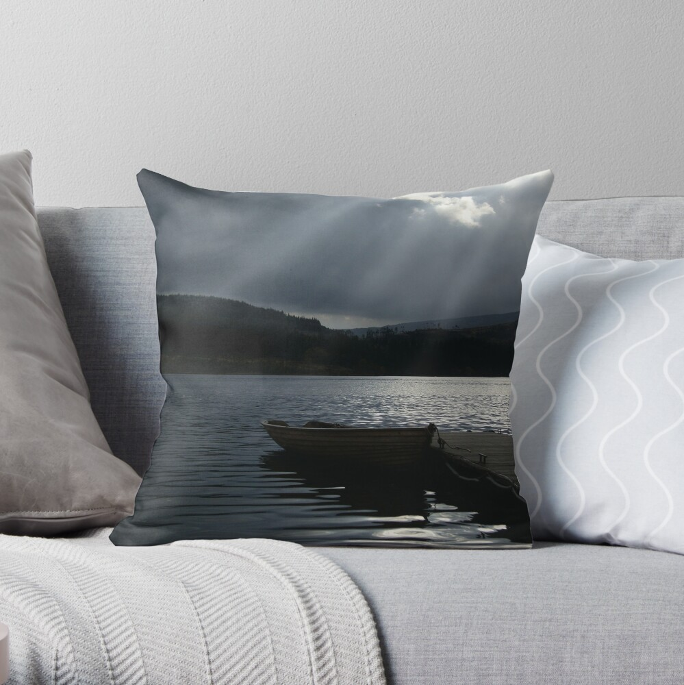Trossachs Fishing Boat Throw Pillow