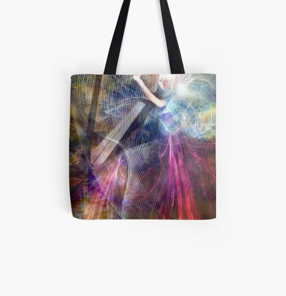 The Faery Harpist playing on the wind All Over Print Tote Bag