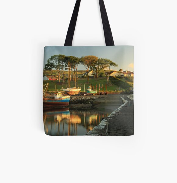 Boat at Carnlough harbour. All Over Print Tote Bag