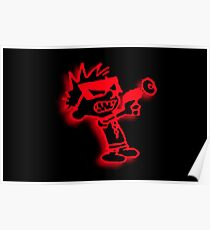 Spaceman Spiff - Red and Black Poster