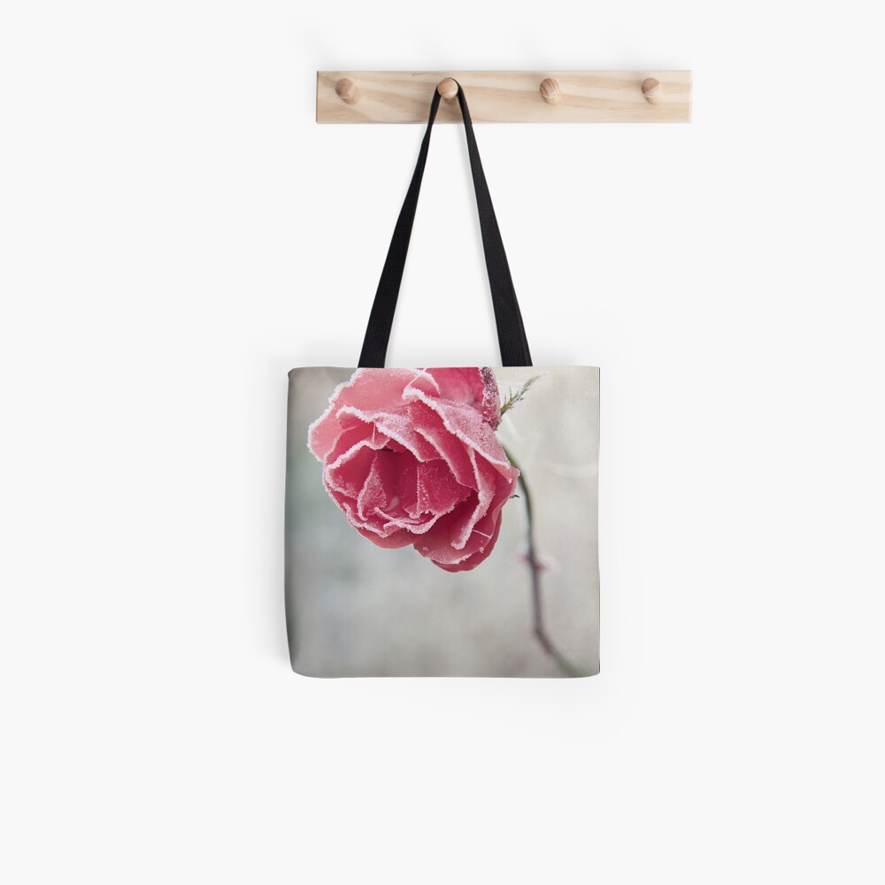 Frosted Red Rose Tote Bag