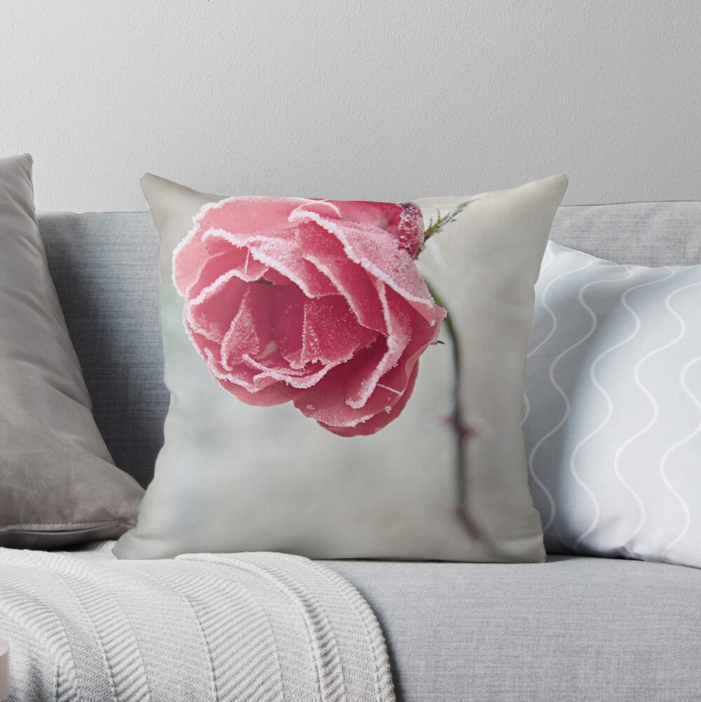 Frosted Red Rose Throw Pillow