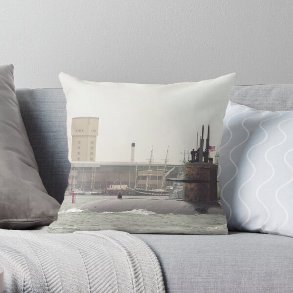 USSN Submarine  leaving Portsmouth 2010  Throw Pillow