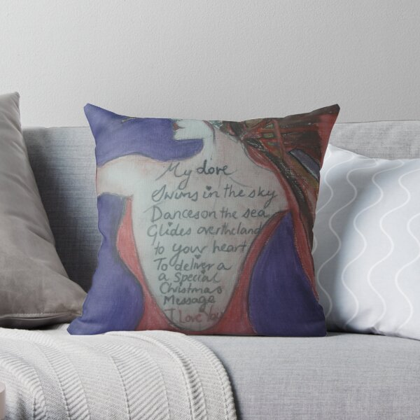 Christmas Love Poem Tattoo Throw Pillow