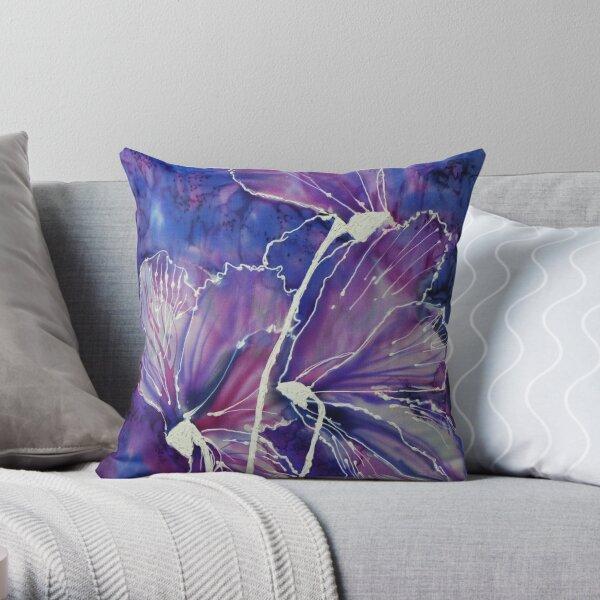 Cyclamen on silk Throw Pillow