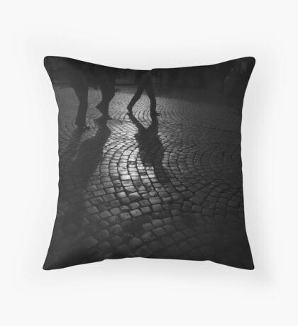 Roman Cobblestone Silhouettes Throw Pillow