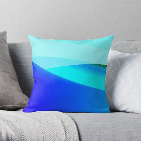 Blue and Green Landscape Throw Pillow