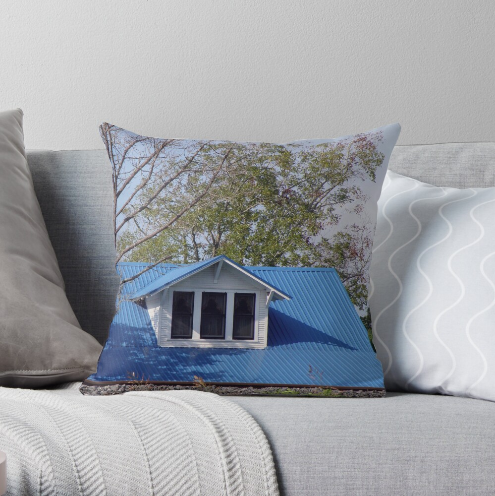 Gable On Blue Roof Throw Pillow By Suddenjim Redbubble