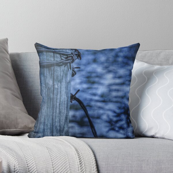 Barbed Wire in Blue Throw Pillow