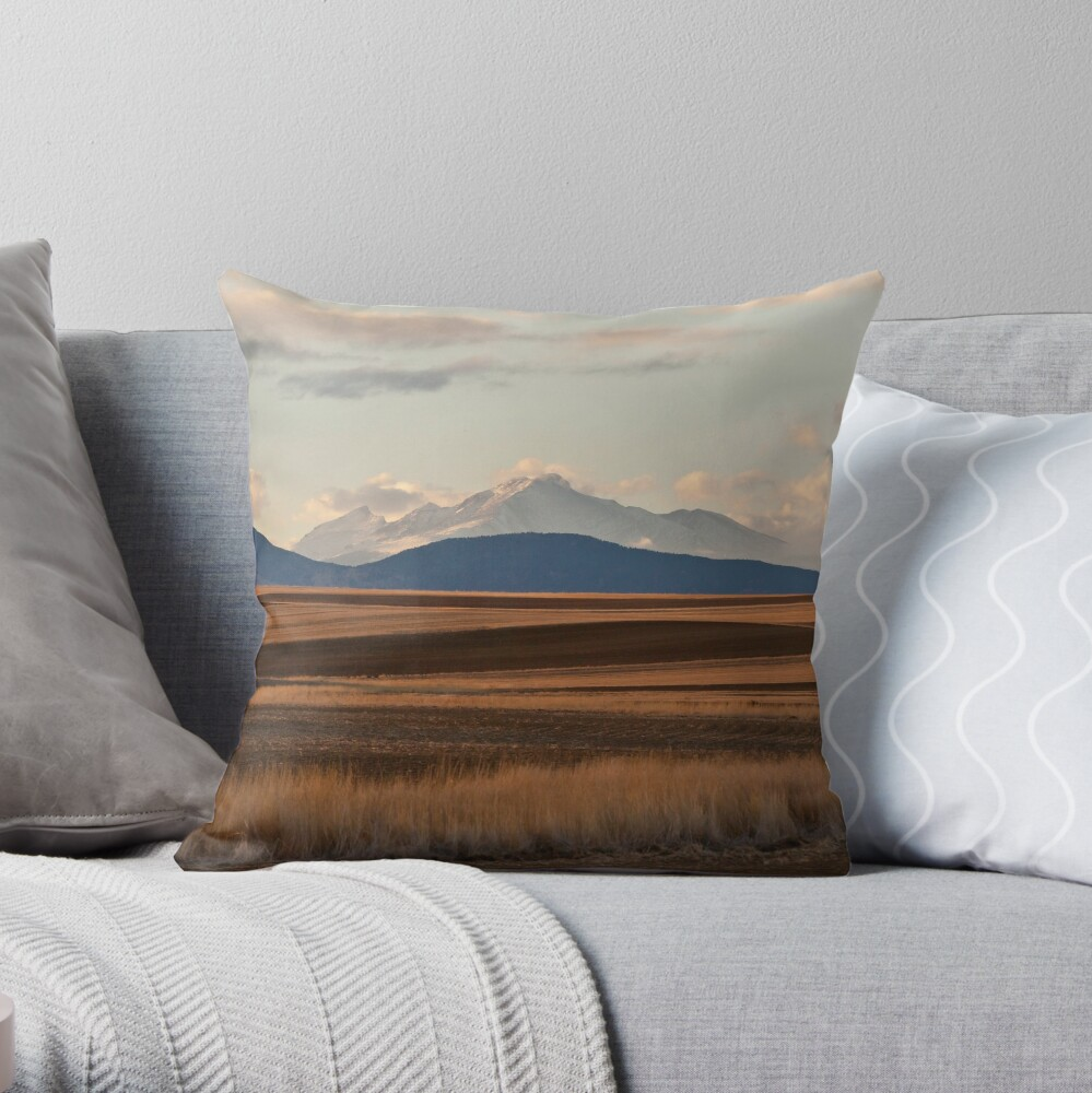 Wheat Fields and Longs Peak Throw Pillow