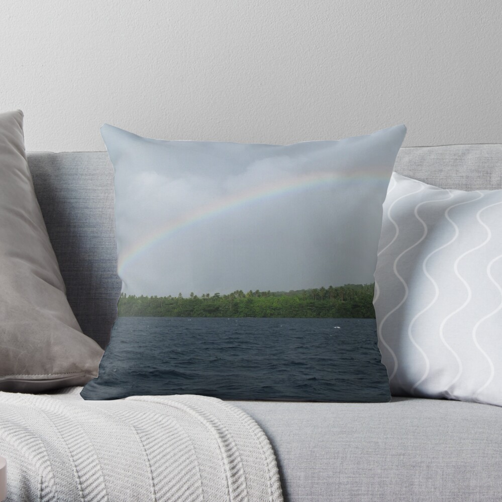 Rainbows at Tetepare Throw Pillow