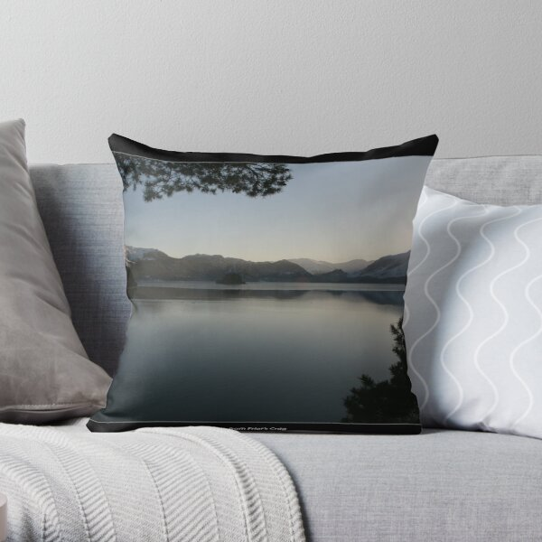 View from Friar's Crag with border Throw Pillow