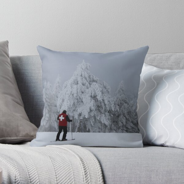 Ski Patrol in the Clouds Throw Pillow