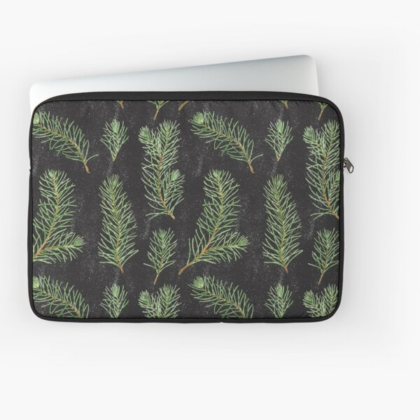 Watercolor pine branches pattern on black background Laptop Sleeve