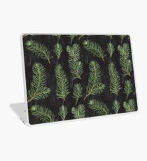 Watercolor pine branches pattern on black background Laptop Skin