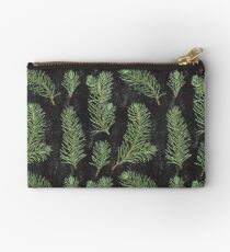 Watercolor pine branches pattern on black background Studio Pouch