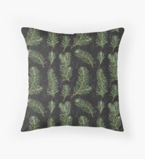 Watercolor pine branches pattern on black background Throw Pillow