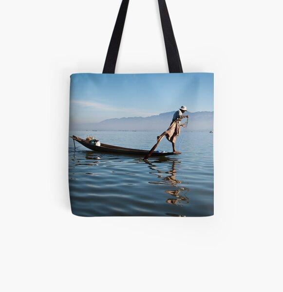 Fishing on Inle Lake  All Over Print Tote Bag