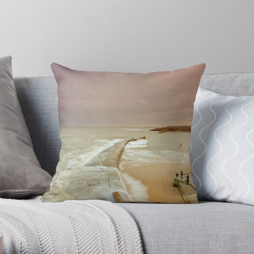 Avoiding the waves Throw Pillow