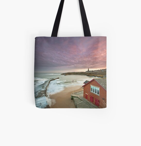 Cullercoats harbour All Over Print Tote Bag